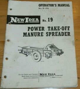 Vintage Operator s New Idea No 19 Power Take off Manure Spreader S 184