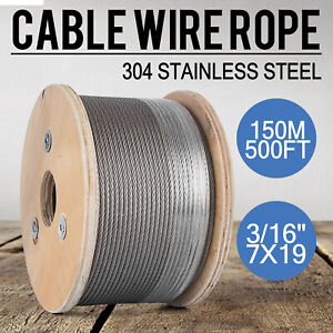 T304 Stainless Steel Cable 3 16 7x19 Wire Rope Cable Railing Decking 500ft