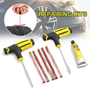 1 Set Car Tubeless Tyre Tire Puncture Repair Glue Plug Needle Patch Fix Kit