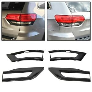 For 2014 2020 Jeep Grand Cherokee Gloss Black Tail Light Lamp Cover Trim Bezel