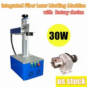 Us 30w Integrated Fiber Laser Marking Machine With Raycus Laser Rotary Device