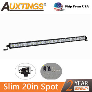 20 Inch 90w Spot Led Light Bar Cree Super Slim Offroad Work Lamp Single Row Us