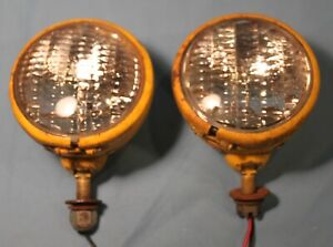 Vintage 12v Lamps Headlights Fog Lights For Tractor Rat Rod Dune Buggy Yellow