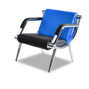 1 seat Office Waiting Chair Airport Reception Pu Leather Guest Sofa Blue