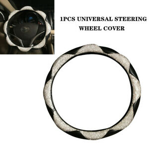 Diamond Leather Steering Wheel Cover With Bling Bling Crystal Rhinestones Trim