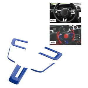 Blue Abs Steering Wheel Button Cover Trim Sticker Fit For Ford Mustang 2015 2019