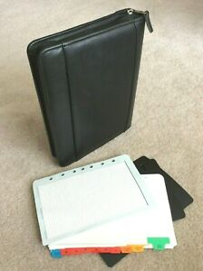 Classic 1 5 Black Top Grain Leather Franklin Covey Zip Planner Binder Extras