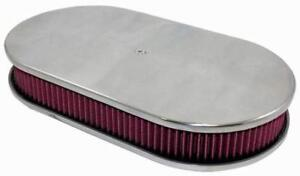 Billet Chrome Aluminum Oval Air Cleaner W Washable Filter 15 X 2