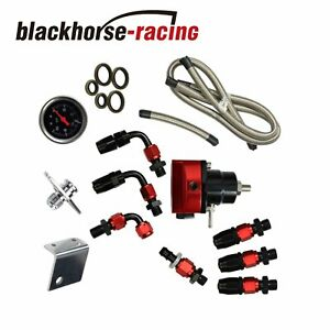Universal Fuel Pressure Regulator Gauge An6 Fuel Line Hose Fittings Black Red