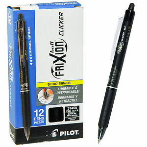 Pilot Frixion Ball Clicker 0 7 Retractable Erasable Black Ink Gel Pen Box Of 12