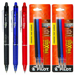 Pilot Frixion Clicker Erasable Gel Ink Pens 3 Pens With 2 Pk Of Refills