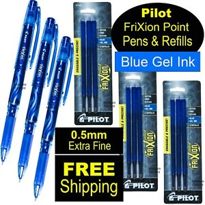 Pilot Frixion Point 0 5 Extra Fine Blue Gel Ink Pens Refills 31574 77344