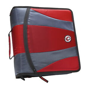 Case it Dual Ring Zipper Binder D ring 2 Inches Red