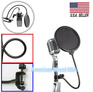 Double Layers Recording Studio Microphone Pop Filter Mic Wind Screen Mask Shield $7.95