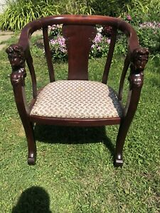 Antique Mahogany Carved Figural Chair