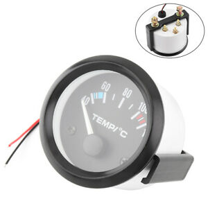2 52mm 12v 40 120 Universal White Led Electrical Car Water Temp Gauge Meter