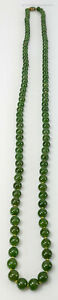 Antique Chinese Long Dark Green Nephrite Jade Bead Necklace Sterling Clasp