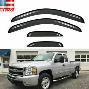 For Chevy Silverado Extended 07 13 Window Visor Rain Guard Sun Shade Trim