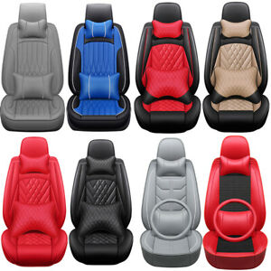 Luxury Car Seat Covers 5 Sits Front Rear Pu Leather Cushions Interior Universal