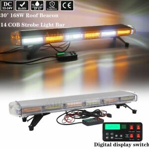 30 Led Cob Warning Strobe Light Bar Emergency Beacon Tow plow Truck Amber White