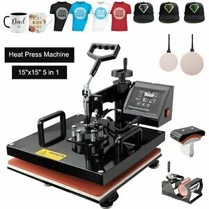 Heat Press 5in1 Machine Digital Swing Away Sublimation T shirt Mug Hat 15 x15