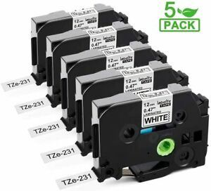 Tz 231 Tze 231 Pt d210 5 Pk Compatible Label Maker Tape 12mm For Brother P touch