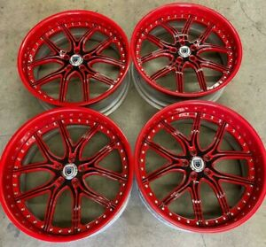 Asanti Wheels Rims 22 Inch Staggered 5x120 Gloss Red Black Trimming