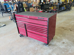 55 Dark Red Snap on Brand 11 Drawer Wheeled Tool Box Like New Condition