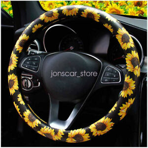 Pu Leather Sunflower Floral Auto Car Steering Wheel Cover For Women Girls Ladies