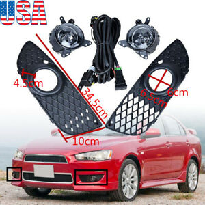 Front Bumper Fog Light Cover Grill Switch Kit Lamp For Mitsubishi Lancer 2007 15