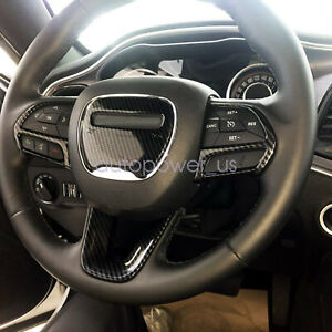 Steering Wheel Cover Decor Trim For Dodge Challenger 2015 2020 Carbon Fiber Abs