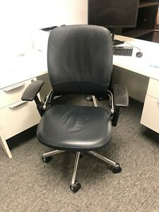 Steelcase Leap V2 Office Chair Black Leather W Chrome Frame