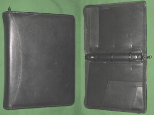 Classic 1 25 Black Leather Day Runner Planner 3 Ring Binder Franklin Covey 7186