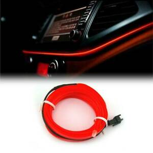 2m Red Led Car Fiber Optic Interior Lights Decorative Ambient Light Strips Diy