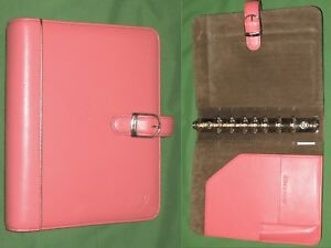 Desk 1 0 Pink Ribbon Leather Day Timer Planner Binder Classic Franklin Covey 42