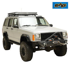 Eag Fits 84 01 Jeep Cherokee Xj Stinger Stubby Front Bumper W winch Plate