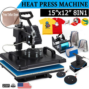 8 In 1 T shirt Heat Press Machine Digital Transfer Sublimation Mug Hat Plate Cap