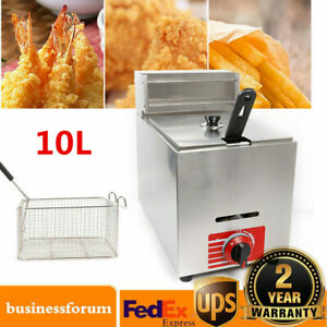 10l Commercial Stainless Steel Countertop Gas Fryer Deep Fryer With 1 Basket Usa