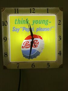 1950's Pepsi Cola Clock Has The think Young- logo