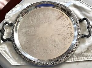 Vintage Silver On Copper Serving Tray With Handles Floral Leaf Pineapple Design