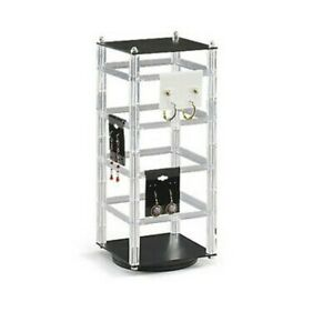 Square Counter Top Rotating Revolving Acrylic Earring Display Stand