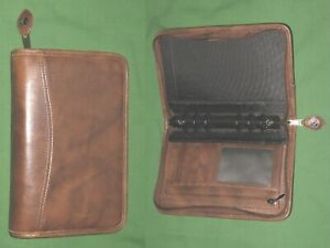 Portable 1 0 Brown Leather Day Timer Planner Binder Compact Franklin Covey