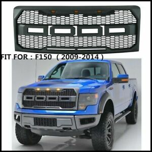 For 2009 2014 Ford F150 Raptor Style Conversion Front Hood Grille W Led Grill