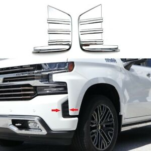 For 2019 2021 Chevy Silverado 1500 Chrome Front Fog Light Cover Trim Bezel