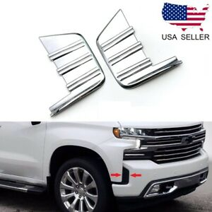 For 2019 2021 Chevy Silverado Chrome Front Bumper Side Vent Cover Trim Bezel