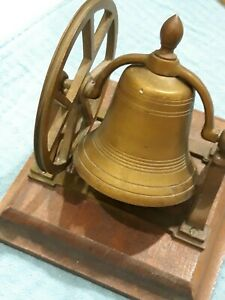 Antique Brass Ship S Bell With Mount Pulley Wheel On Wood Base Nice Condition