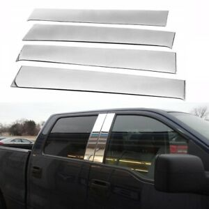 Fit 2004 2014 Ford F150 Super Cab Crew Stainless Steel Chrome Pillar Post Trim