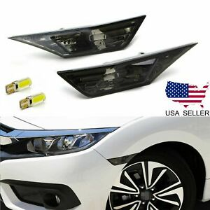 For 2016 2020 Honda Civic Smoked Side Marker Lamp Turn Signal Light W Led Bulbs