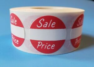 500 Self adhesive Sale Price 1 Round Retail Merchandise Red Label Sticker Tag