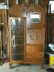 Antique Quarter Sawn Secretary Bookcase Curved Glass Door Beveled Mirror